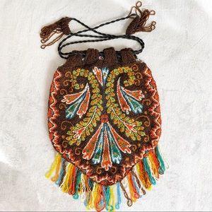Vintage Multicolor Hand Beaded Drawstring Bag